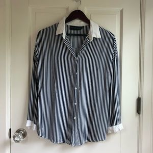 Nautical Style Blue and White Striped Button Down